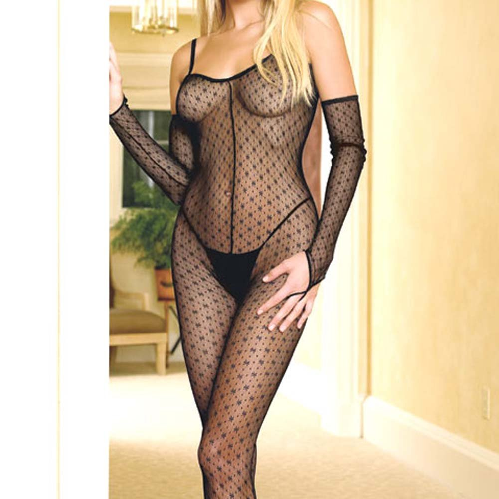 Criss Cross Back Open Crotch Bodystocking with Gloves - View #3