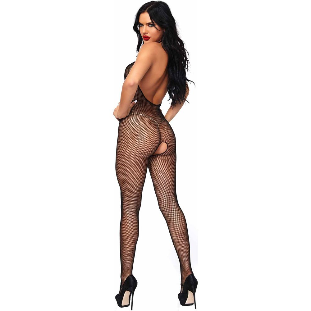 Seamless Fishnet Halter Bodystocking Black - View #2
