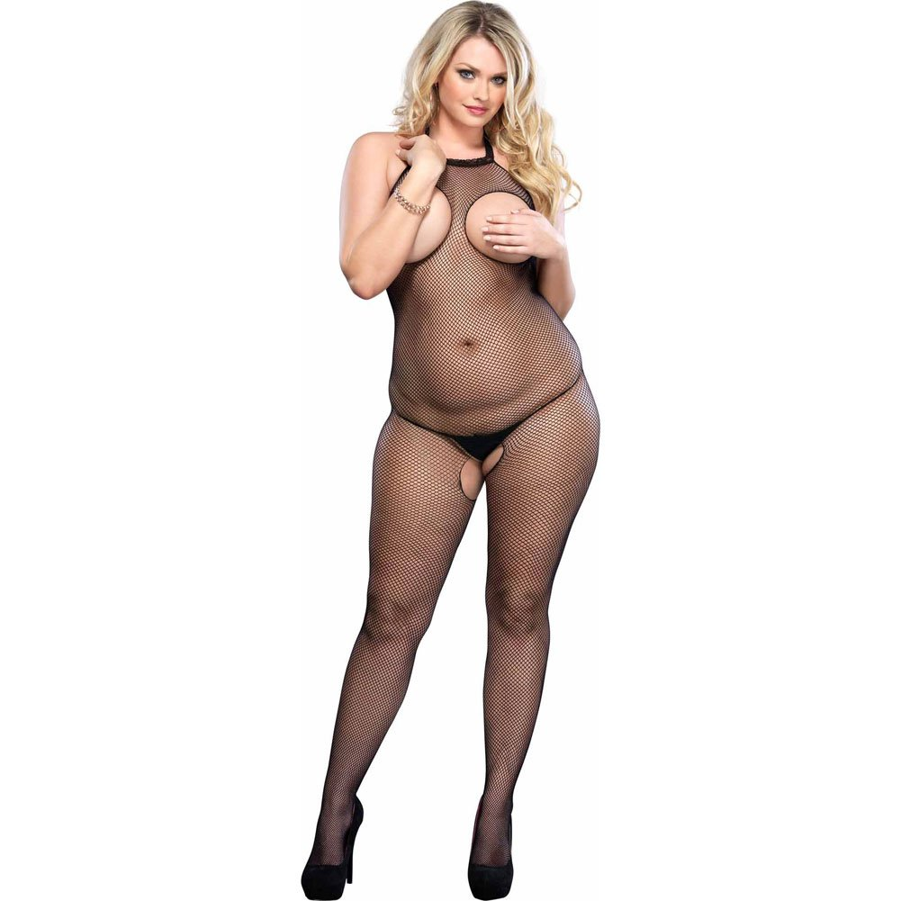 Open Bust Fishnet Halter Bodystocking Black Plus Size - View #1