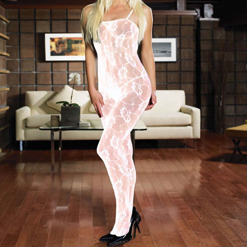 Rose Lace Crotchless Bodystocking White Plus Size - View #1