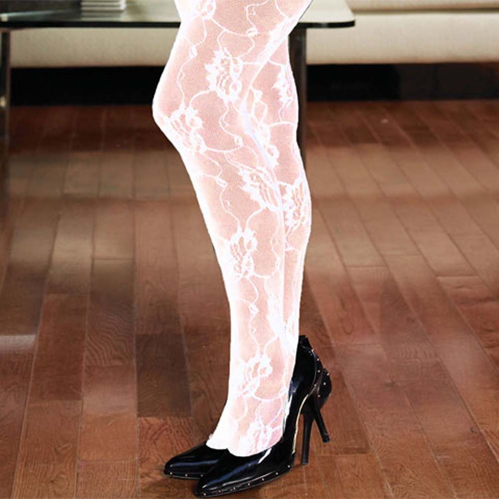 Rose Lace Crotchless Bodystocking White Plus Size - View #3