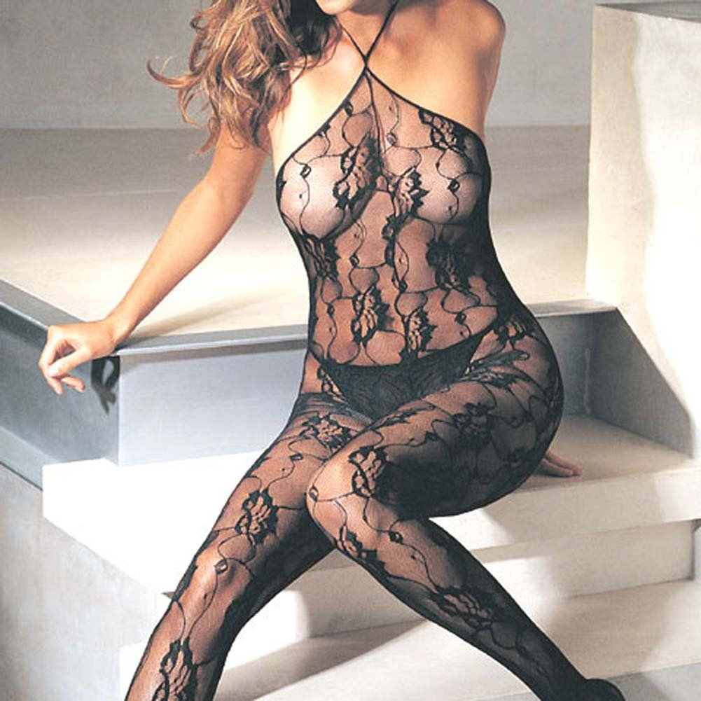 Rose Lace Halter Bodystocking - View #1