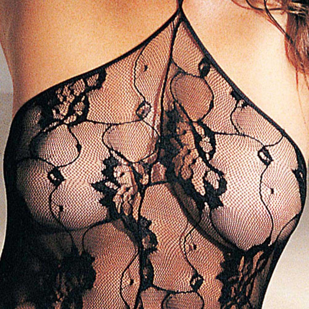 Rose Lace Halter Bodystocking - View #3