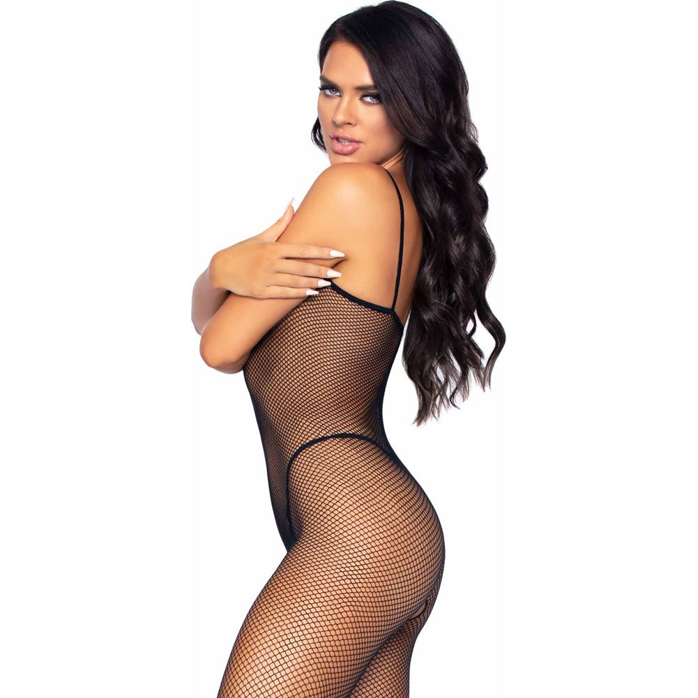 Seamless Fishnet Open Crotch Bodystocking Black - View #4