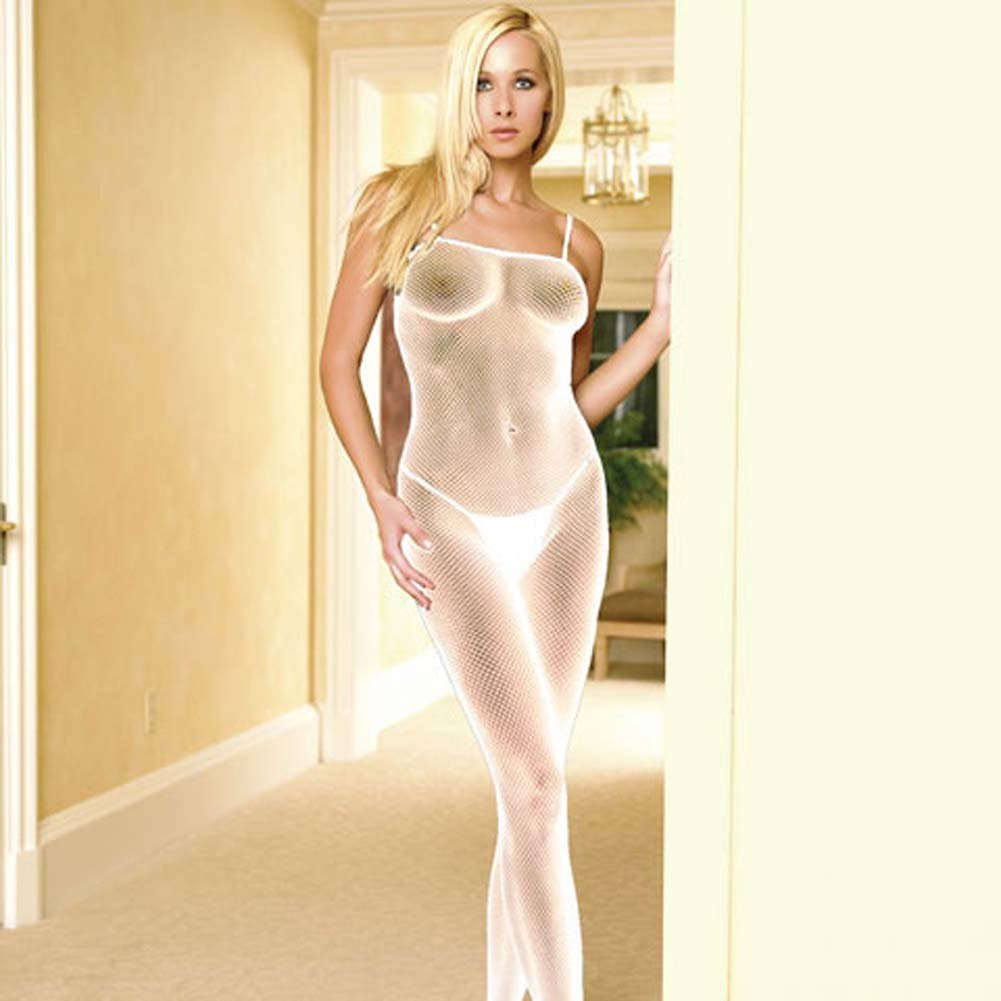 Seamless Fishnet Open Crotch Bodystocking White - View #1