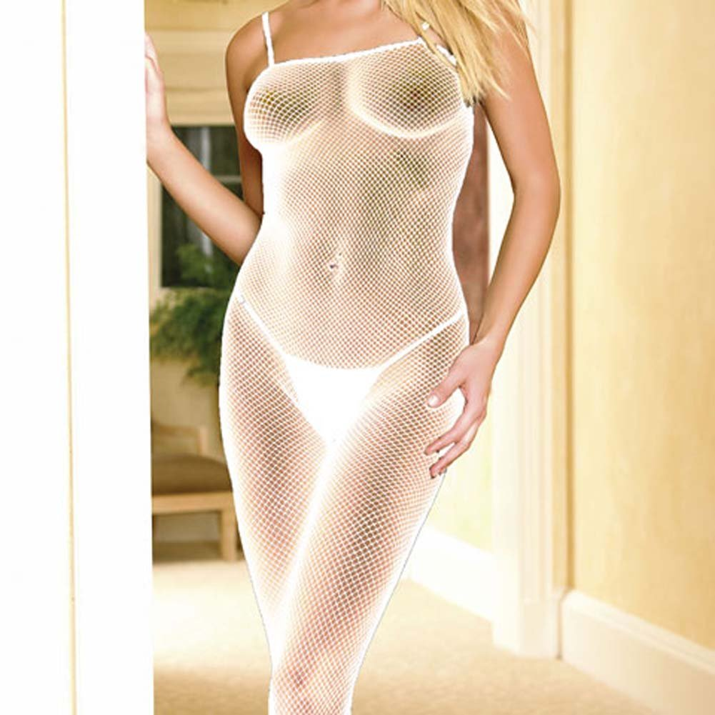 Seamless Fishnet Open Crotch Bodystocking White - View #3