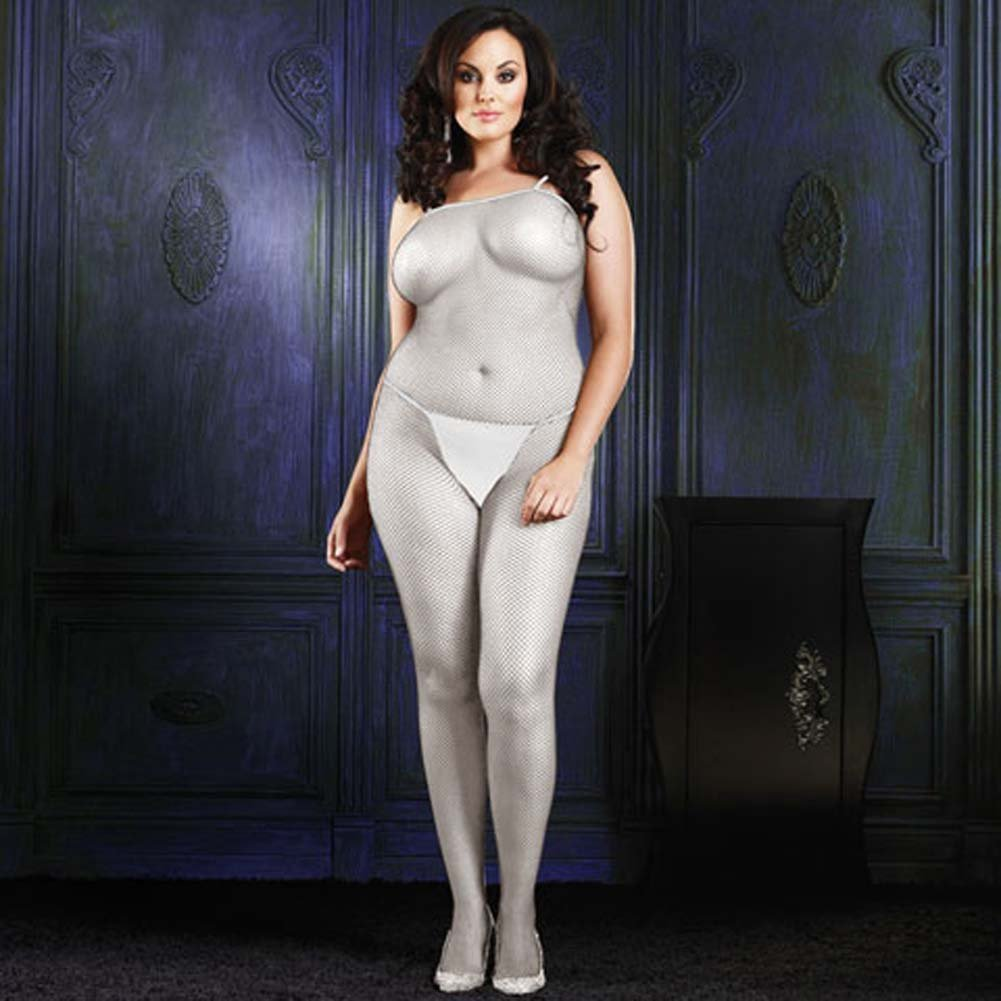 Seamless Fishnet Crotchless Bodystocking White Plus Size - View #1