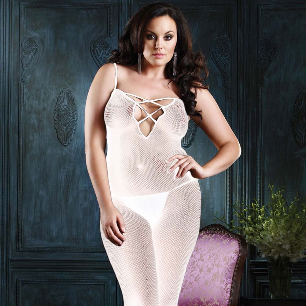 V Back Fishnet Bodystocking with Lace Up White Plus Size - View #1
