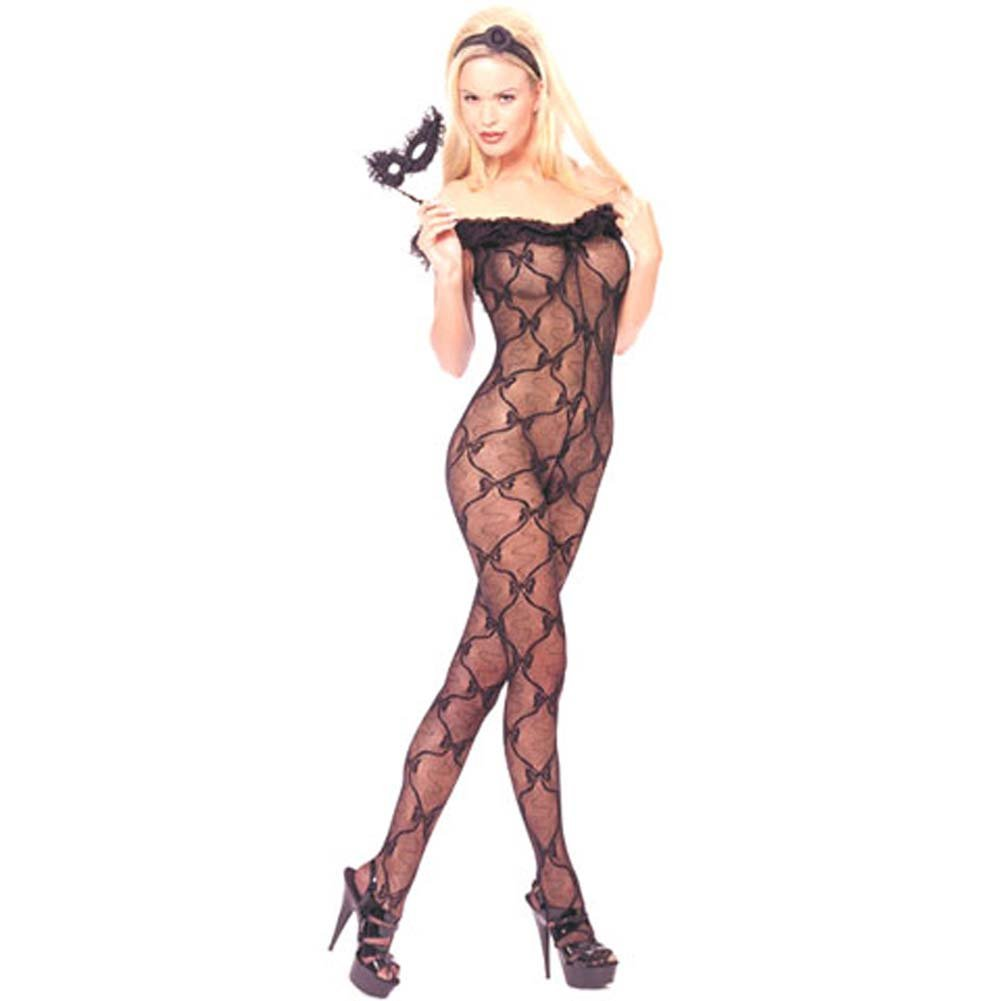 Lace Ruffle Off Shoulder Crotchless Bodystocking Black - View #1