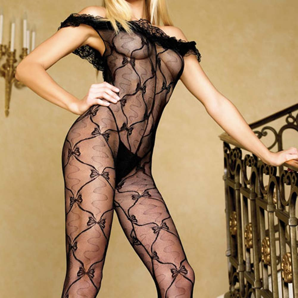 Lace Ruffle Off Shoulder Crotchless Bodystocking Black - View #3