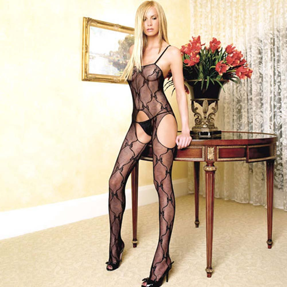 Bow Lace Suspender Bodystocking Black - View #1