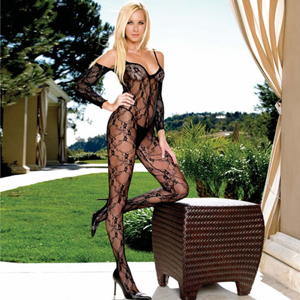 Fashion Lace Crotchless Bodystocking with Attached Sleeves One Size Black - View #1