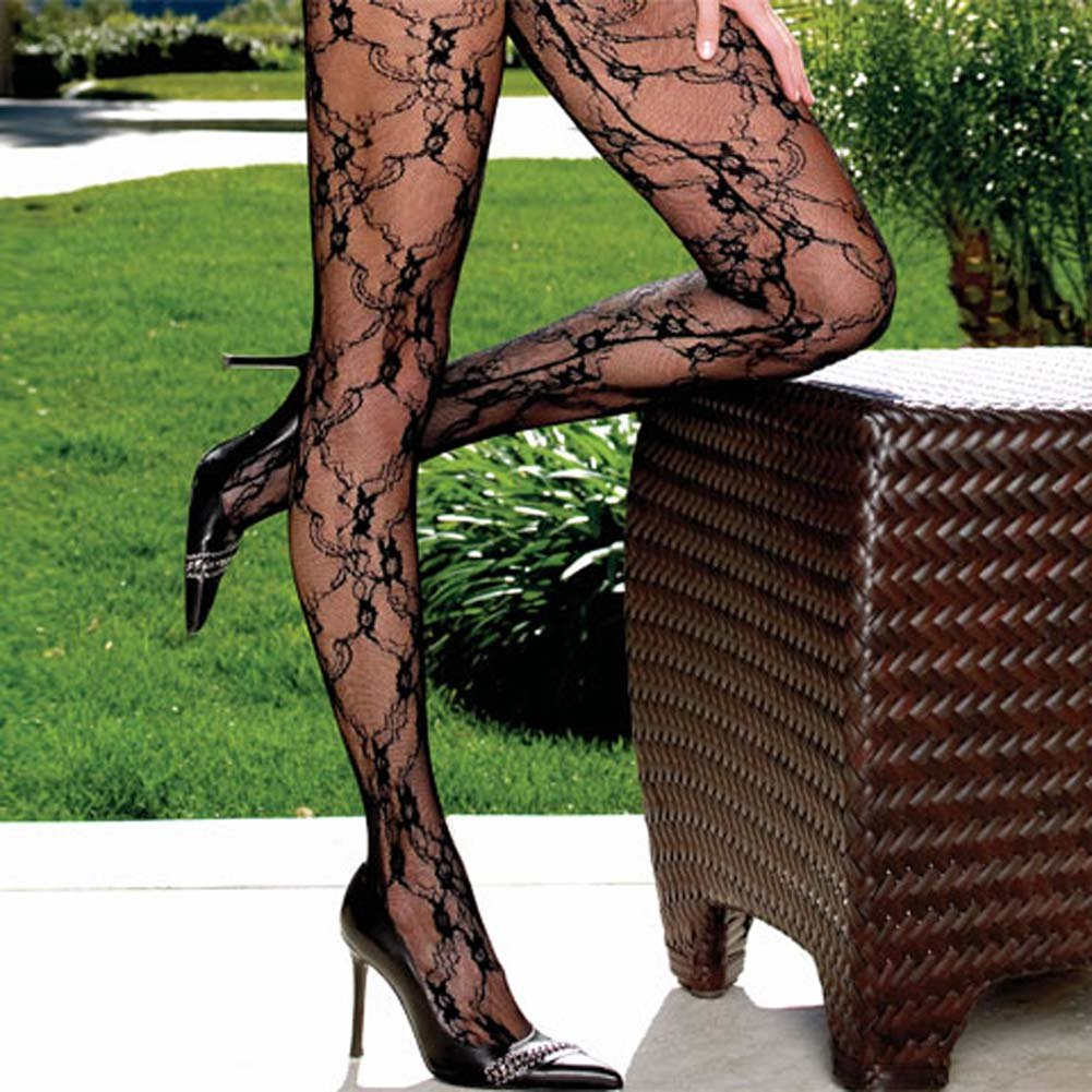 Fashion Lace Crotchless Bodystocking with Attached Sleeves One Size Black - View #3