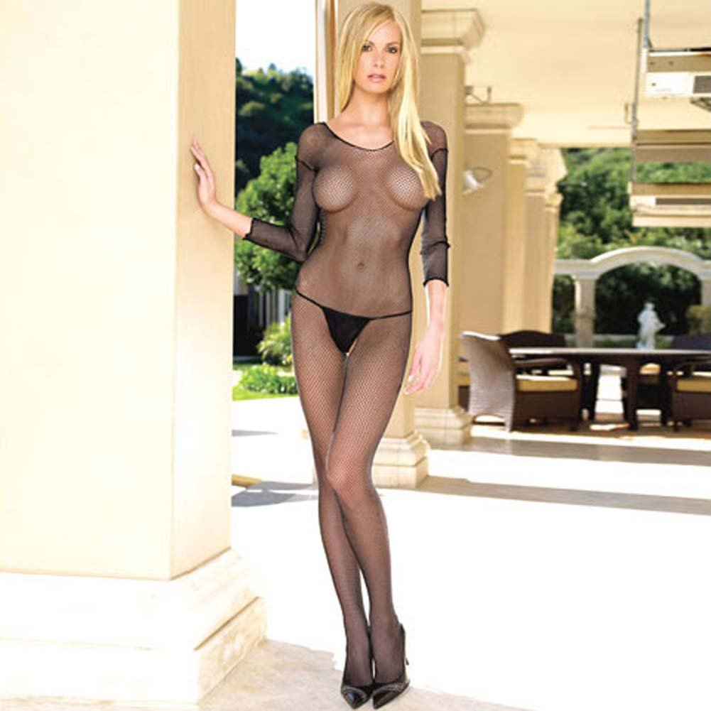 Seamless Fishnet Long Sleeves Bodystocking One Size Black - View #1
