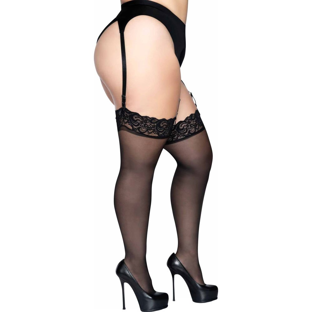 Sheer Lace Top Stockings Black Plus Size - View #3