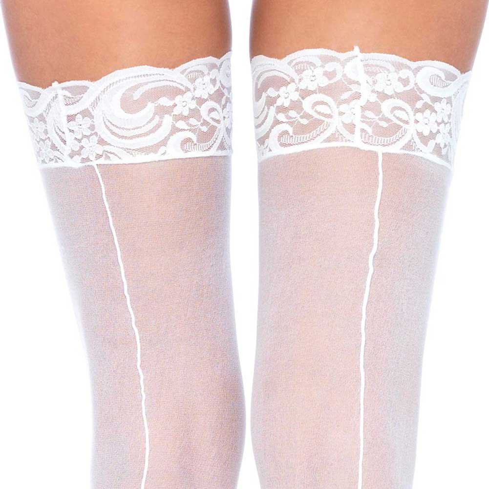 Leg Avenue Sheer Thigh High Lace Top Stockings with Back Seam One Size White - View #2