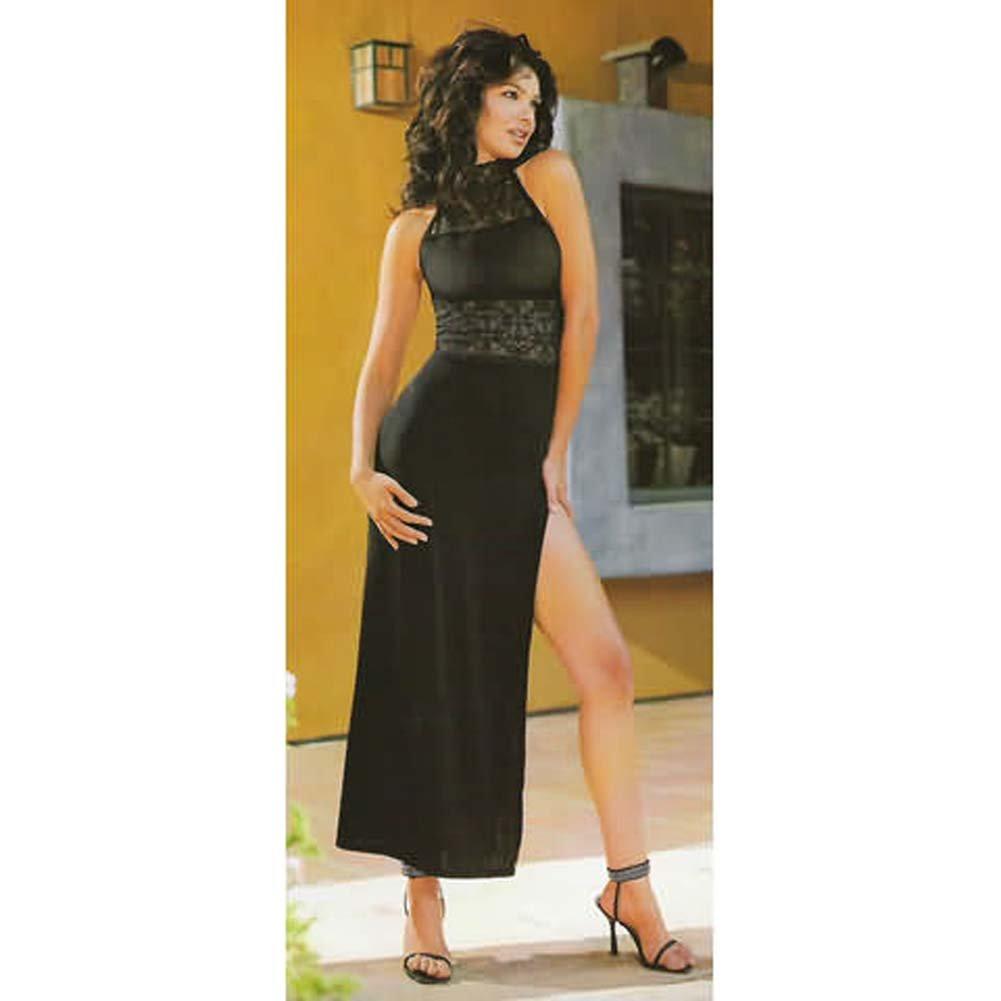 Sheer Thigh Hi With Rhinestone Back Seam Black Plus Size - View #2