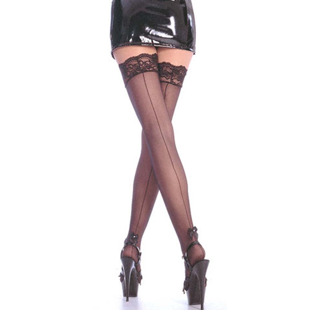 Sheer Thigh Hi Back Seam with Pearl Satin Bow Black - View #2