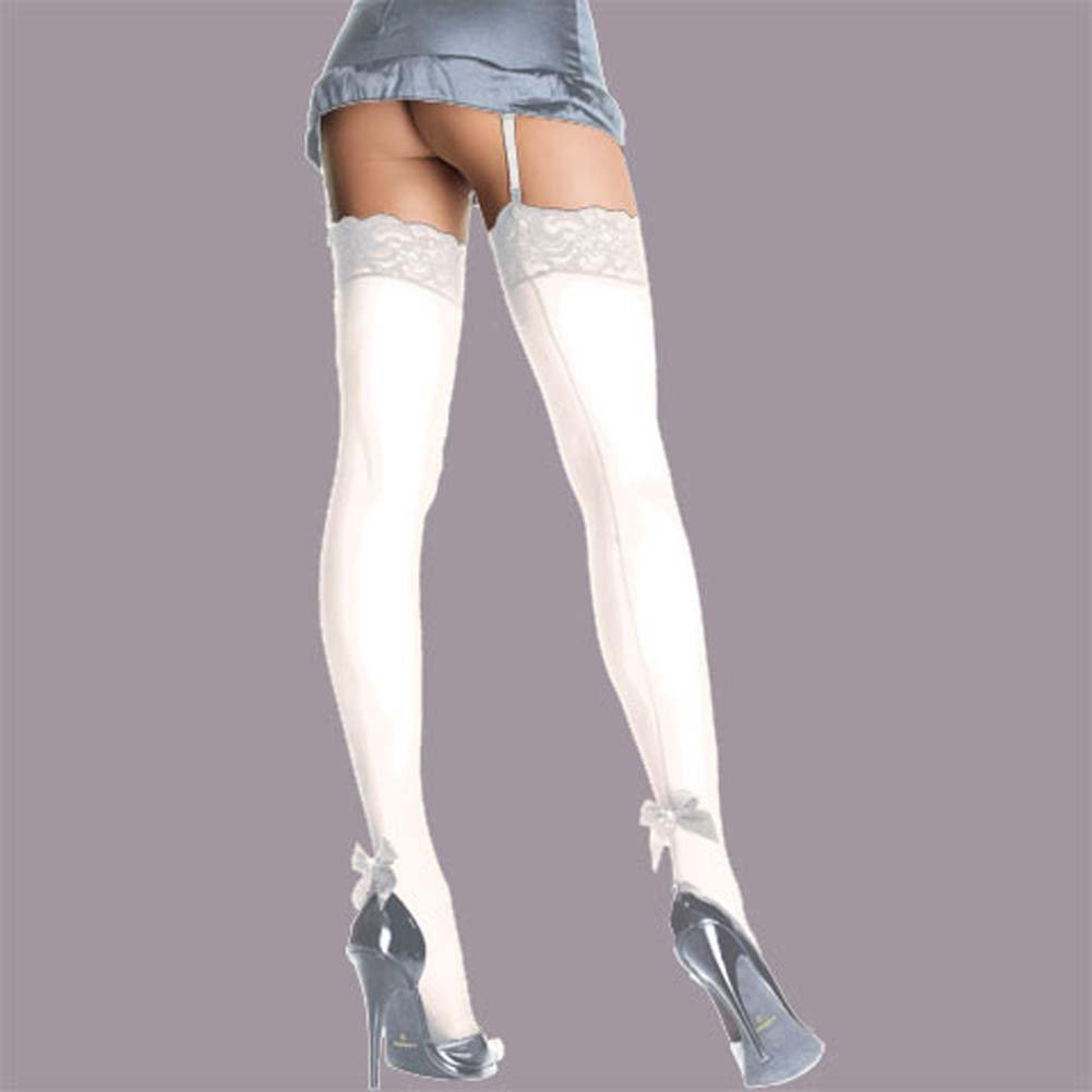 Sheer Thigh Hi Back Seam With Pearl Satin Bow White - View #1