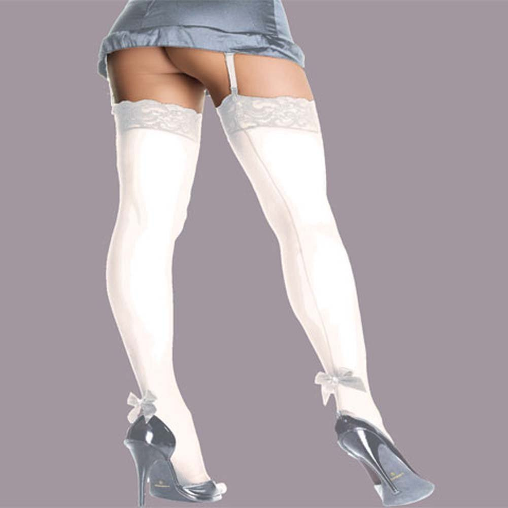 Sheer Thigh Hi Back Seam With Pearl Bow White Plus Size - View #1