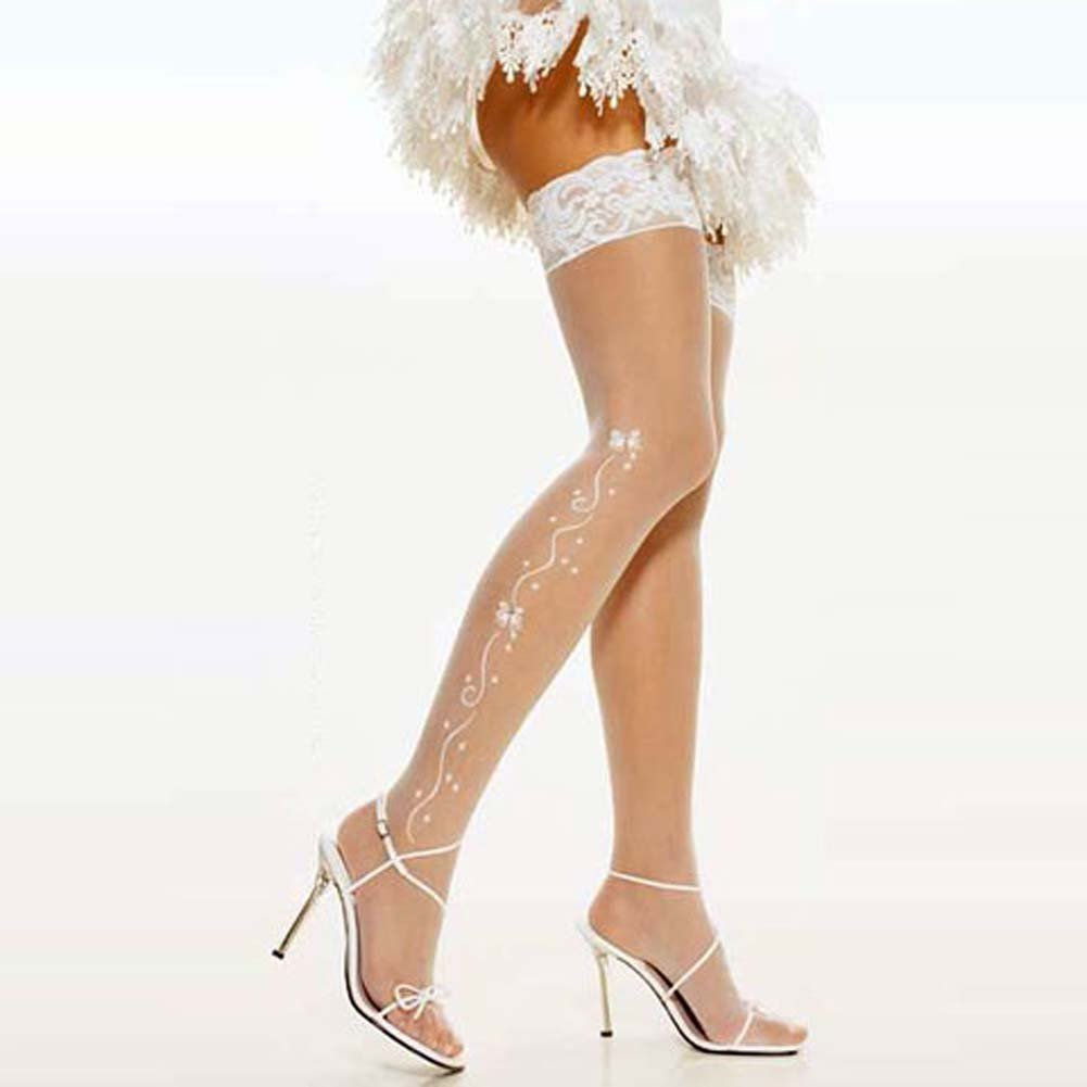 Wedding Bell Sheer Thigh Hi White - View #2