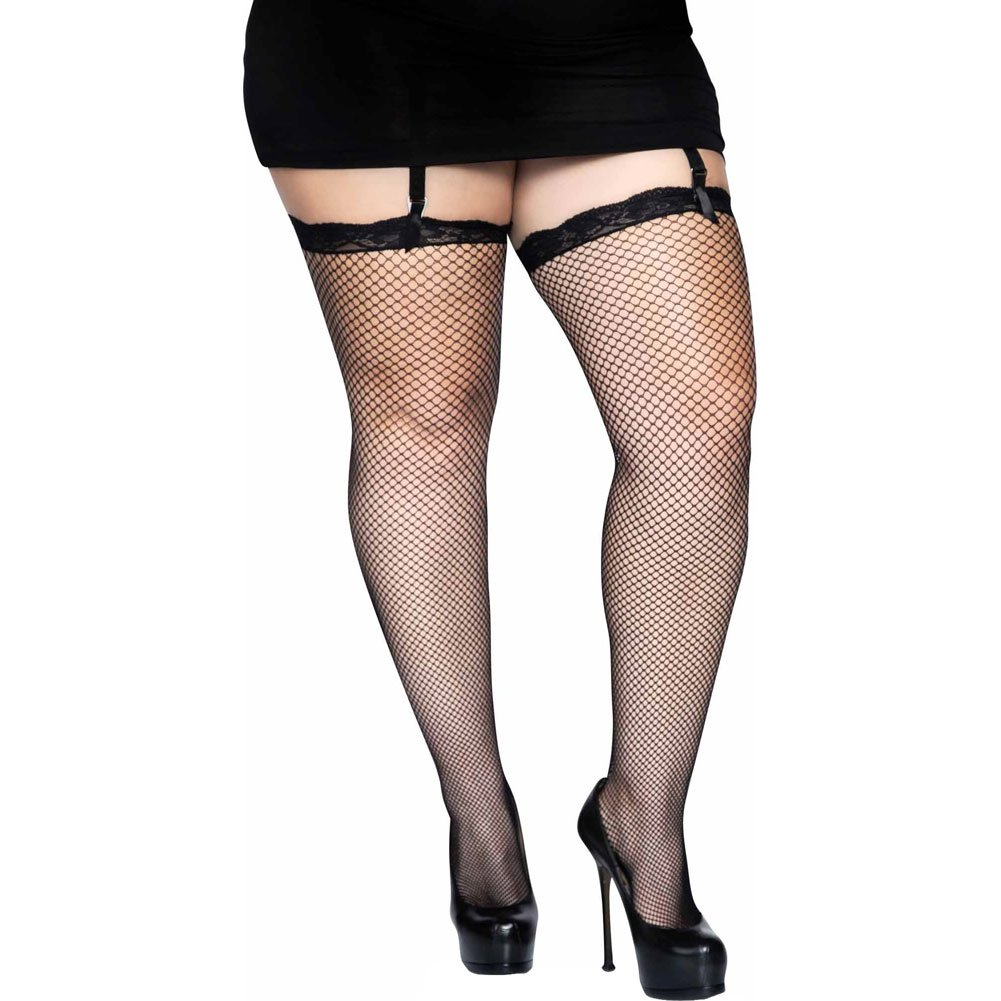 Fishnet Thigh Highs with Lace Top Black Plus Size - View #1