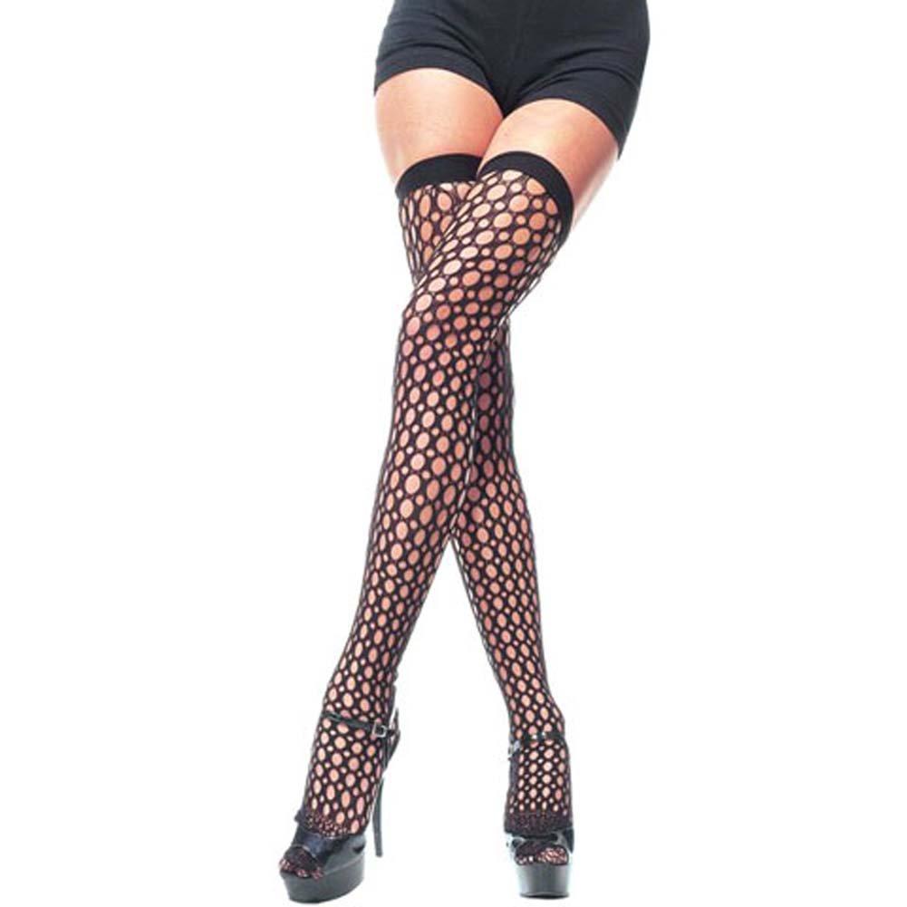 Lycra Crochet Thigh Hi Black - View #2