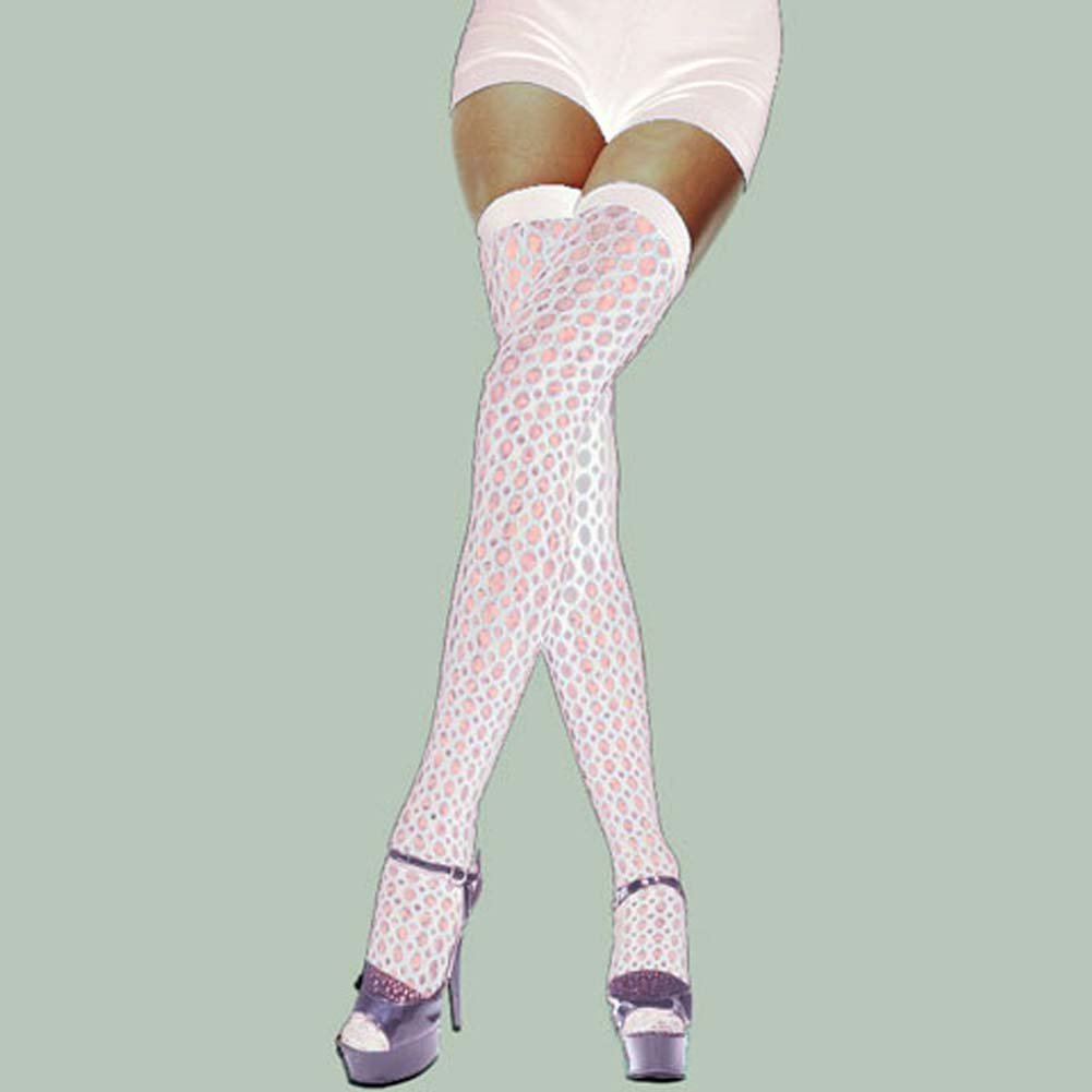 Lycra Crochet Thigh Hi White - View #1