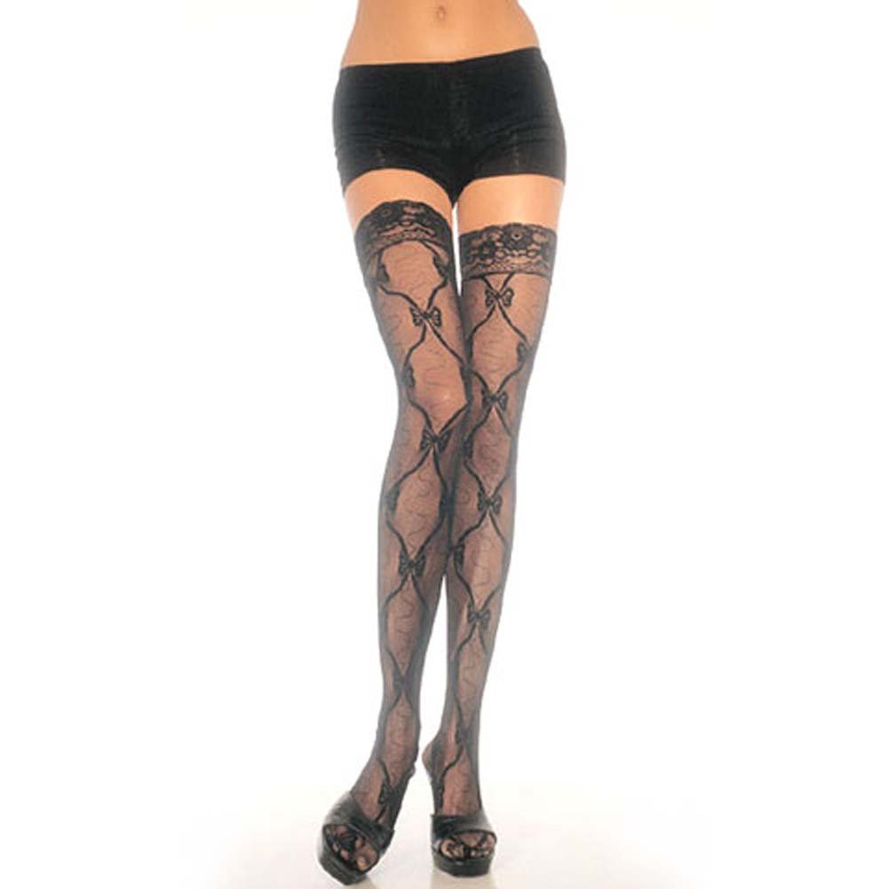 Bow Lace Thigh Hi with Lace Top Black - View #1