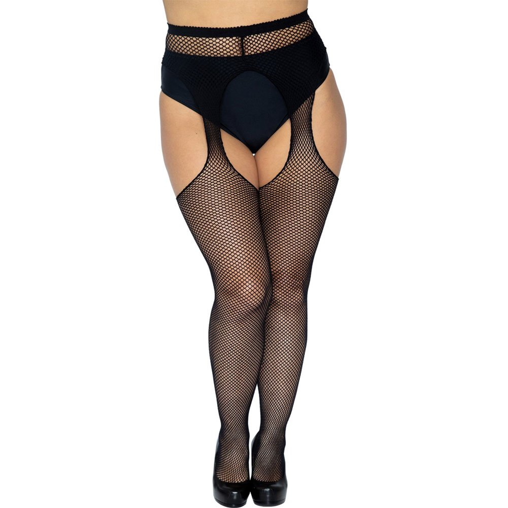 Fishnet Suspender Pantyhose Plus Size Black - View #1