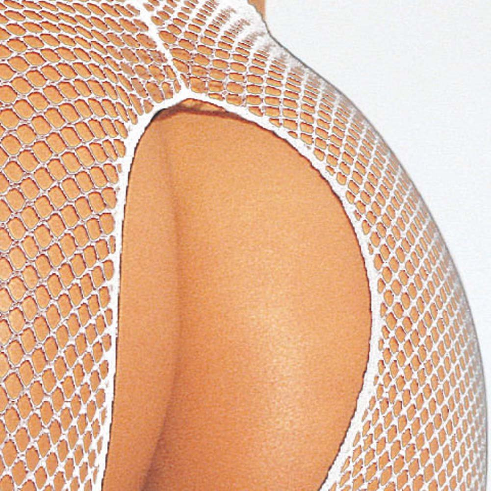 Fishnet Suspender Pantyhose Plus Size White - View #2