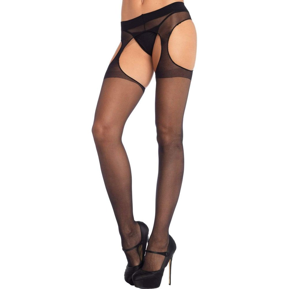 Leg Avenue Sheer Suspender Pantyhose One Size Black - View #1