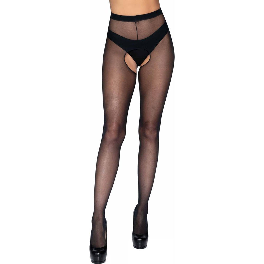 Leg Avenue Sheer Crotchless Pantyhose One Size Black - View #1