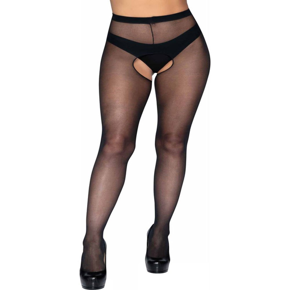 Leg Avenue Sheer Crotchless Pantyhose Plus Size Black - View #1