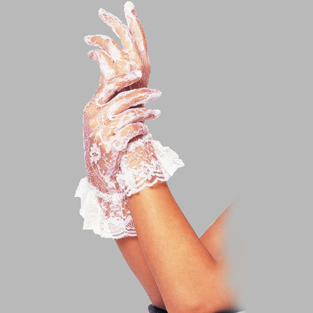 Wrist Length Lace Gloves With Ruffle White - View #1