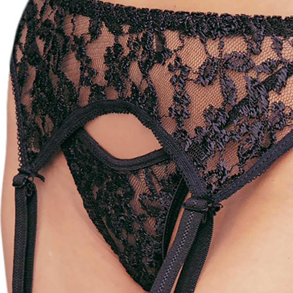 Lace Garter Belt with Matching Thong Set One Size Black - View #2