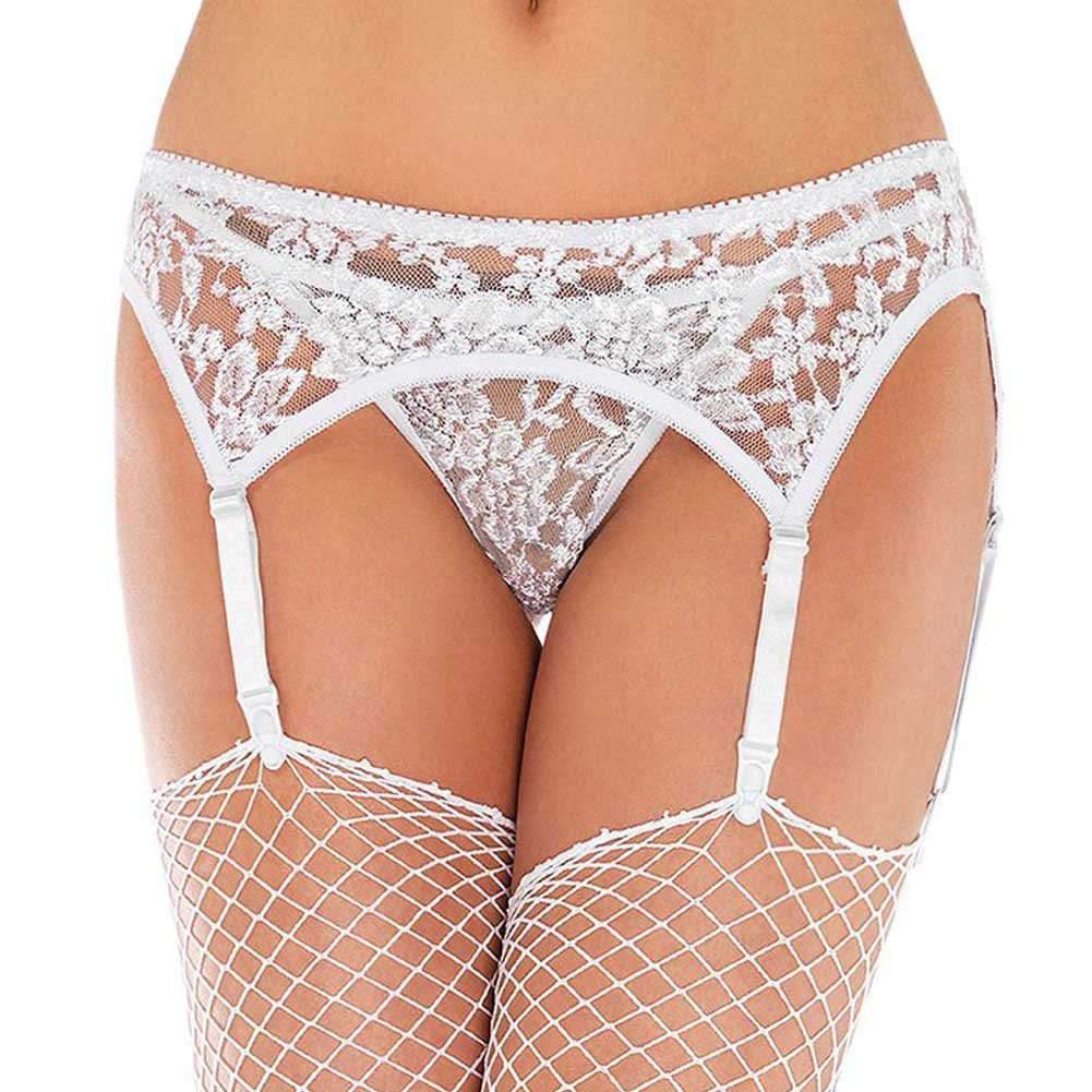 Lace Garter Belt Set with Matching Thong One Size White - View #1