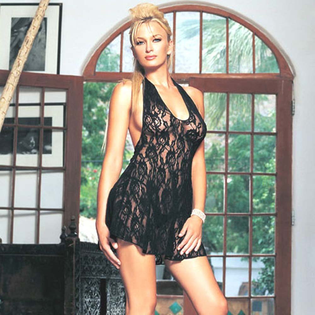 Lace Halter V Front Mini Dress One Size Black - View #2