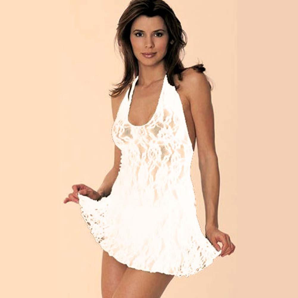 Lace Halter V Front Mini Dress White - View #1