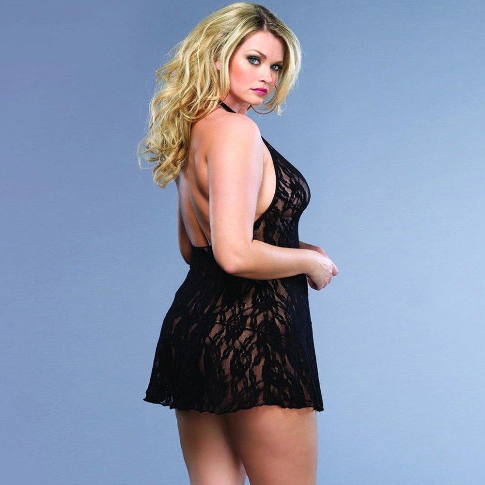 Leg Avenue Lace Halter V Front Mini Dress Set Plus Size Black - View #2