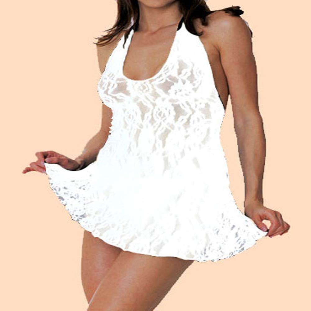 Lace Halter V Front Mini Dress Set White Plus Size - View #1