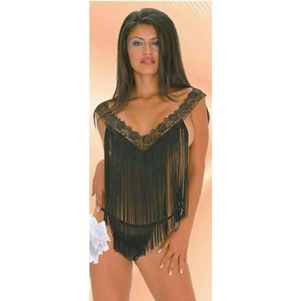 Fringe Swings With Lace Trim And Panty Black Plus Size - View #1