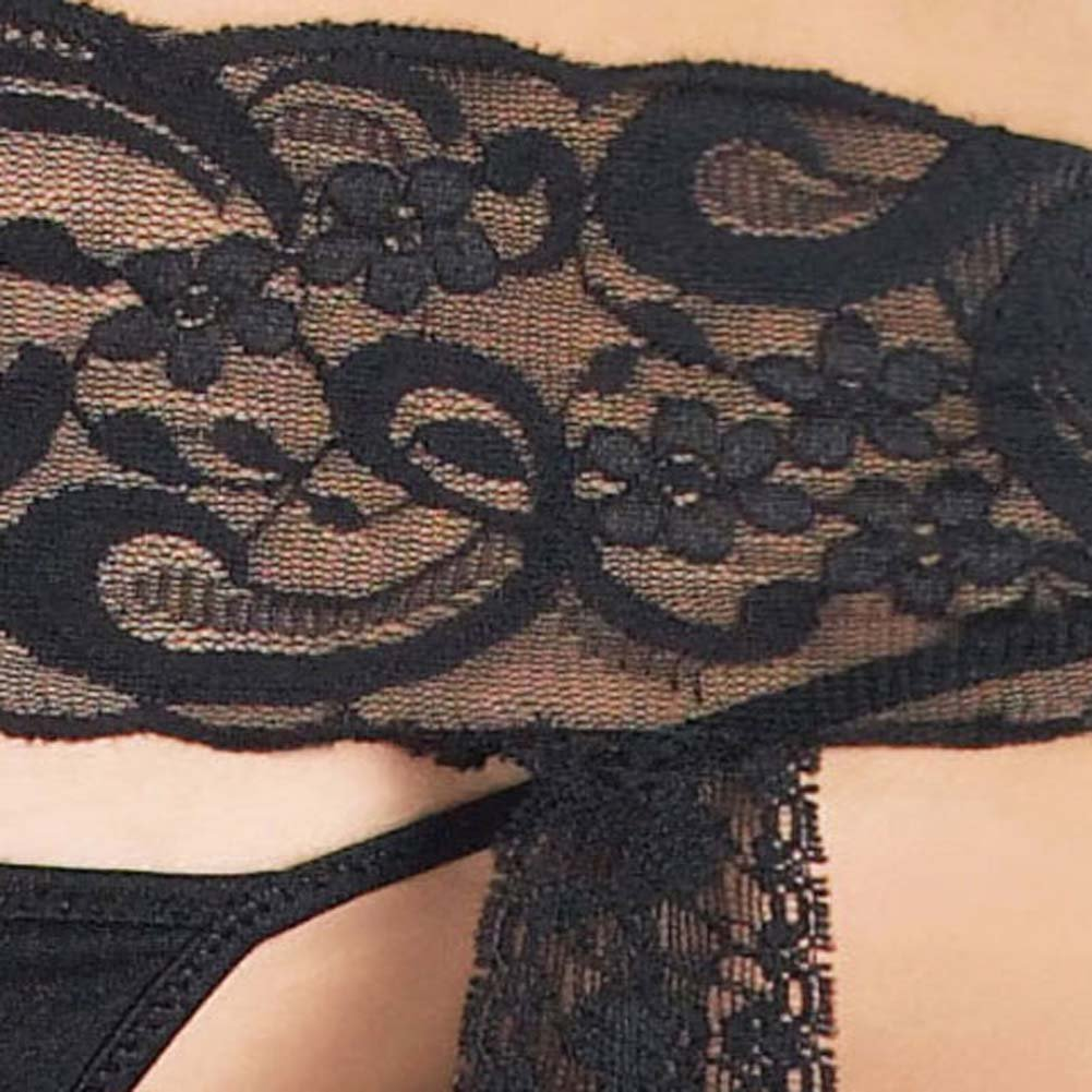Lace Top Stockings with Attached Garter Belt Plus Size Black - View #4