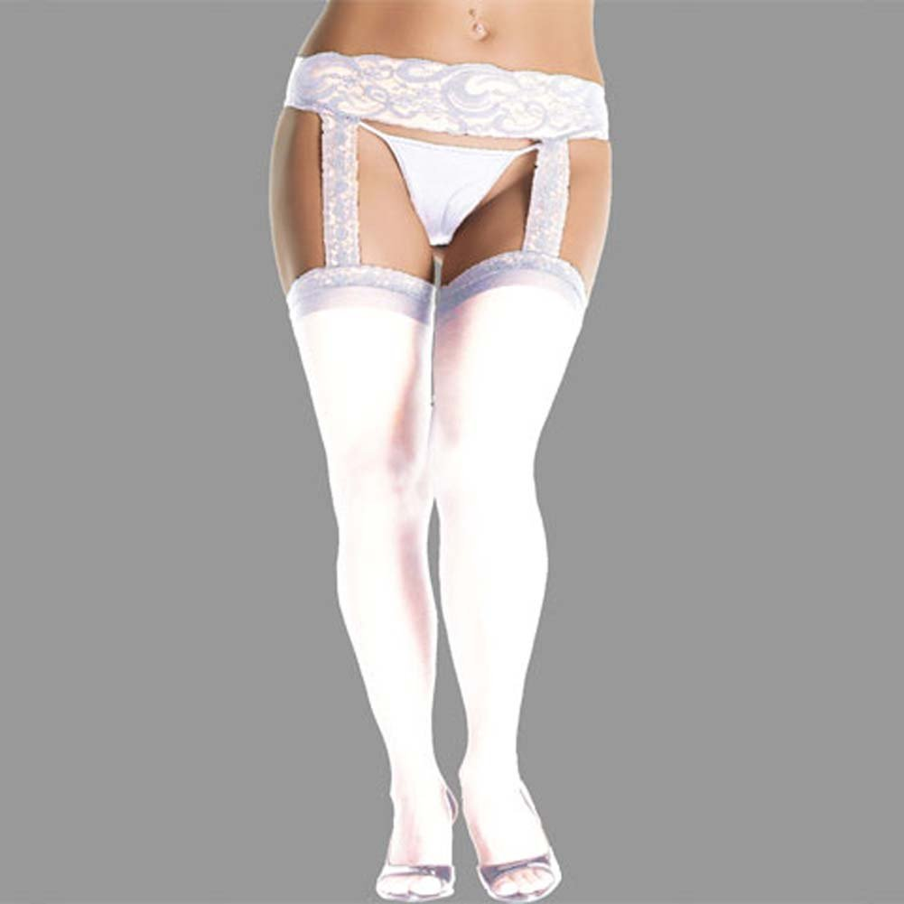 Lace Top Stockings with Attached Garter Belt Plus Size White - View #1