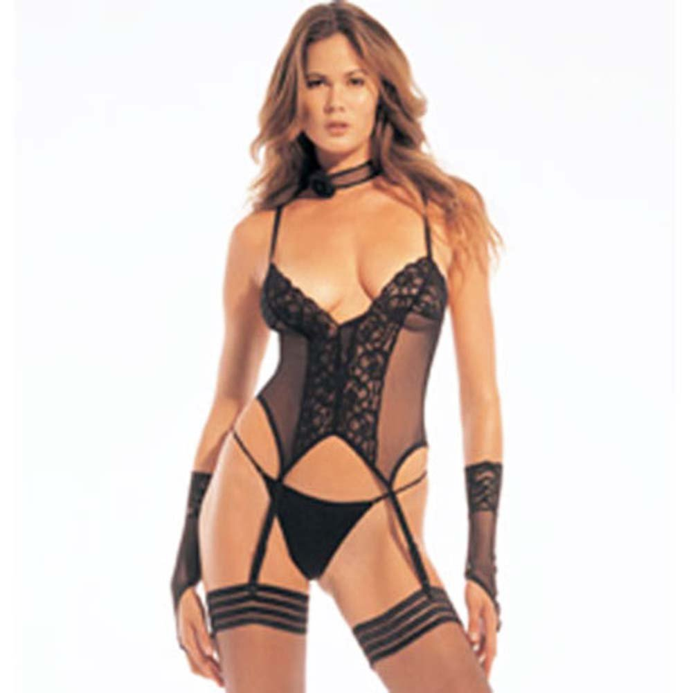 Sheer Lace Bustier Garter with G-String and Gloves - View #2