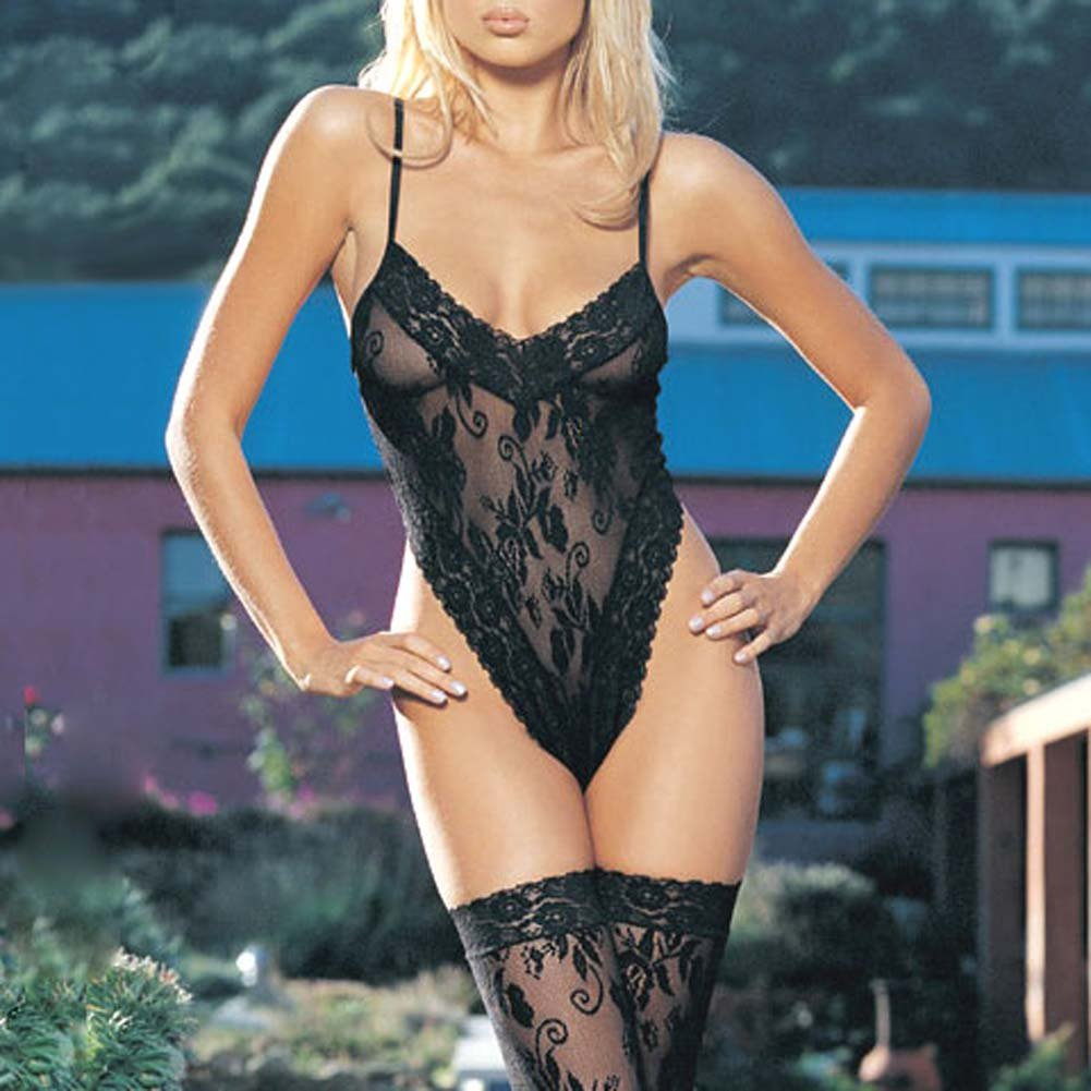 Floral Lace Teddy With Thigh Hi - View #1