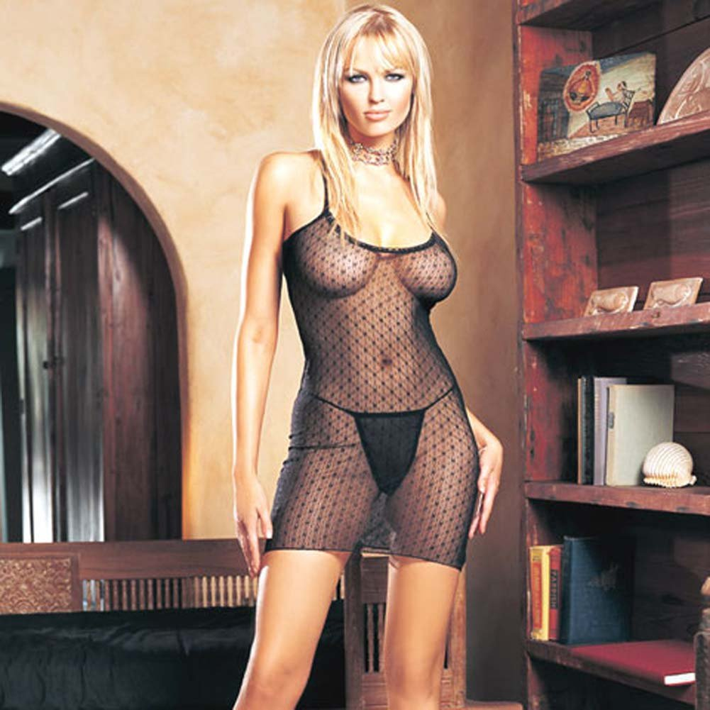 Lace Criss Cross Back Dress with G-String - View #2