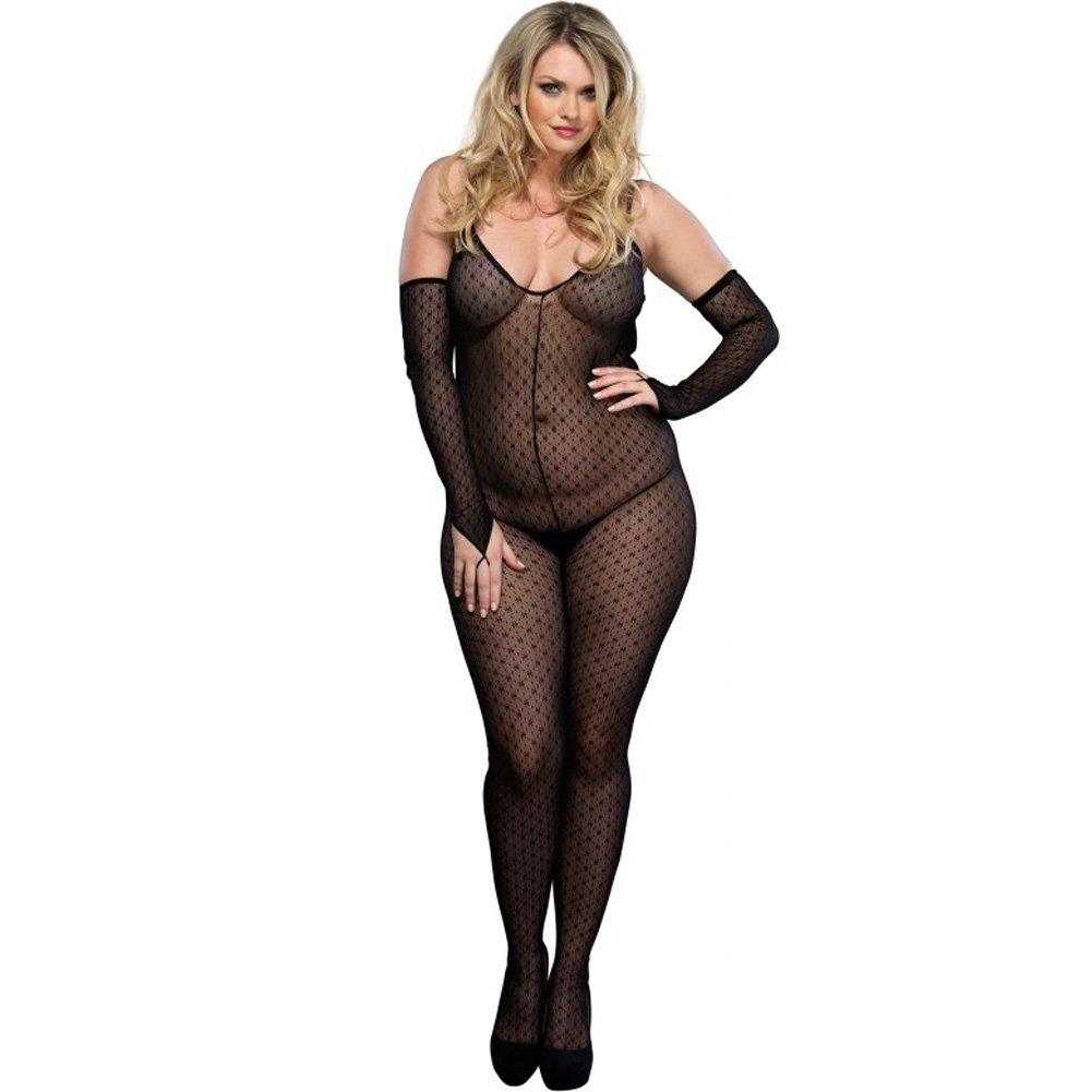 Criss Cross Back Open Crotch Bodystocking Plus Size Black - View #1