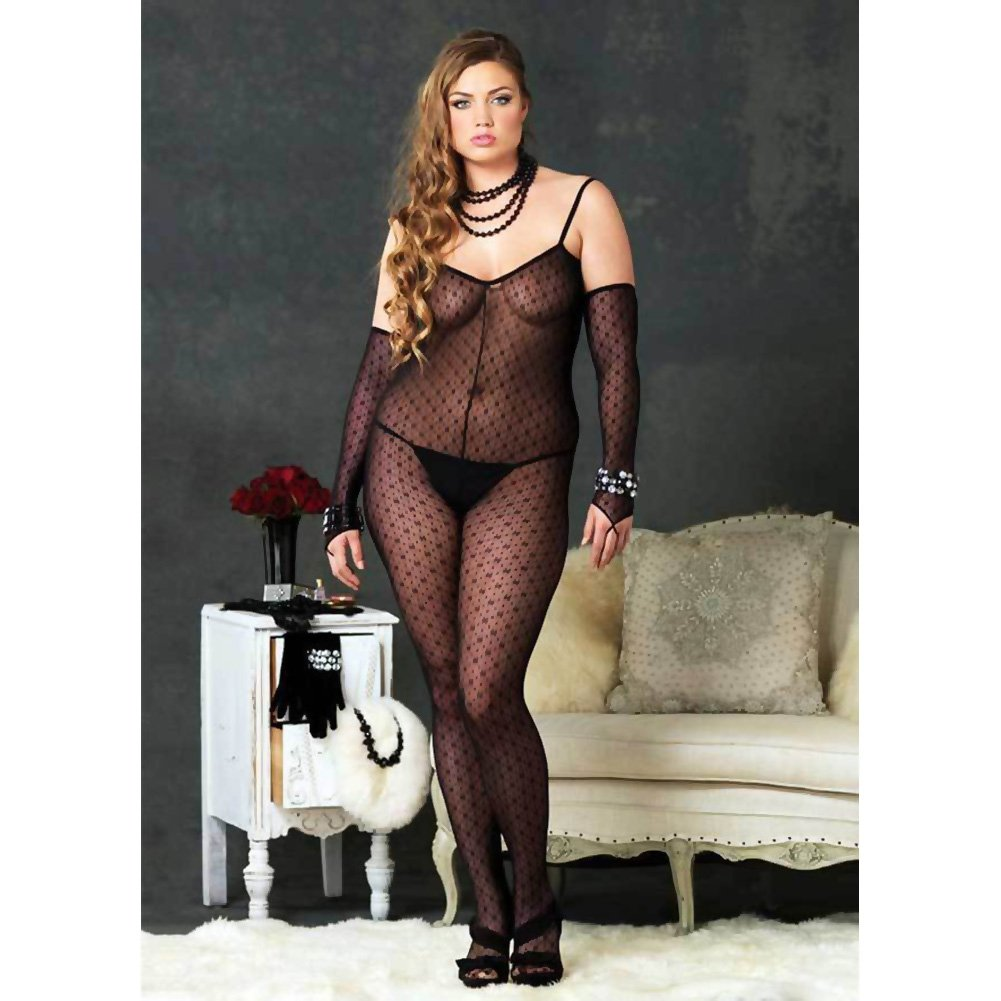 Criss Cross Back Open Crotch Bodystocking Plus Size Black - View #3