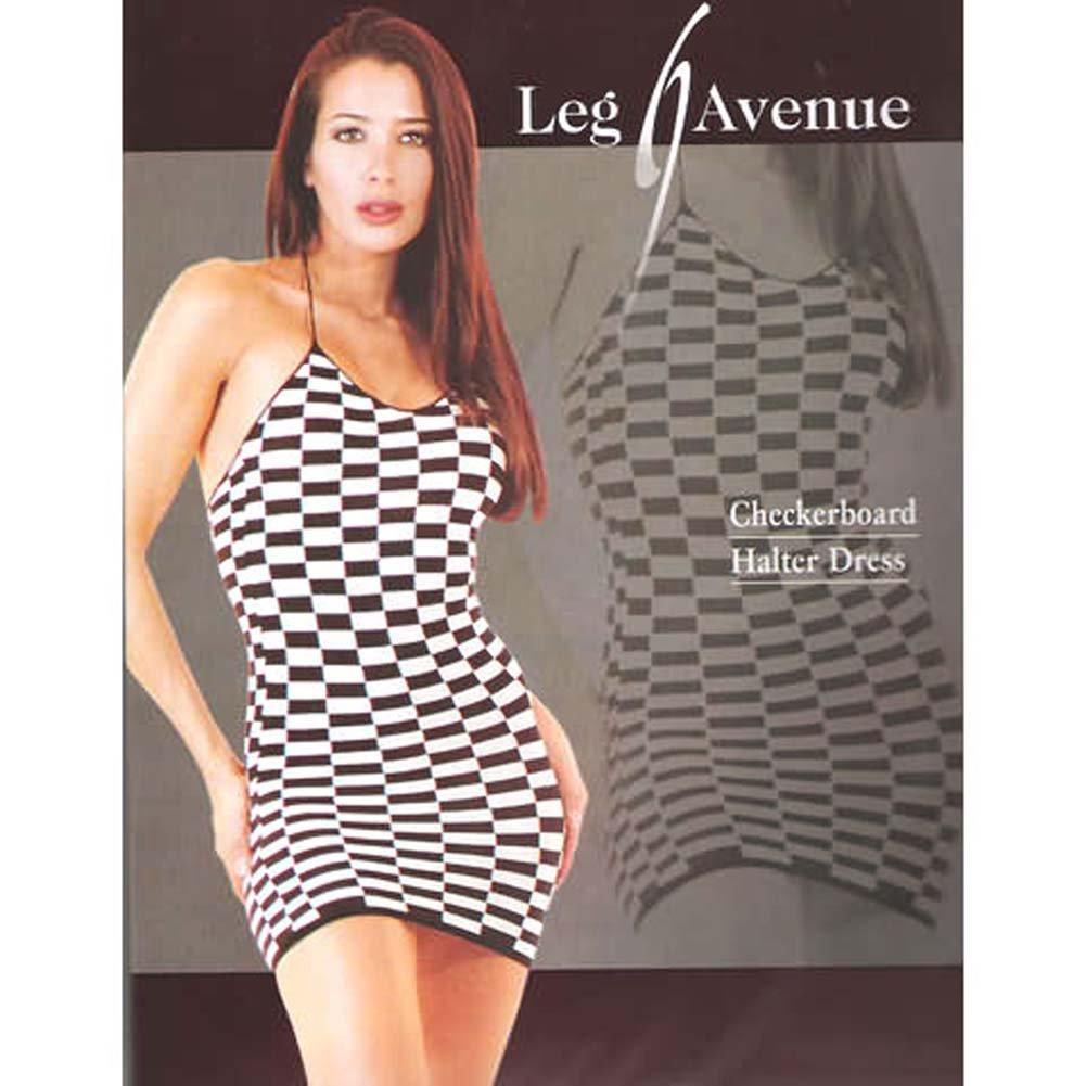 Checkerboard Halter Dress - View #1